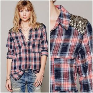 Free People Plaid Sequin Yoke Button Down Top